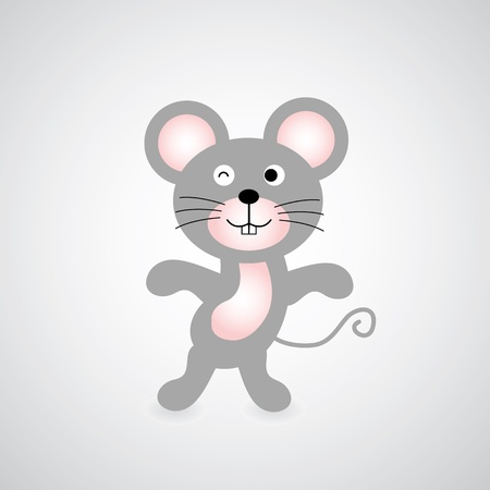 unprotected: mouse vector cartoon on gray background