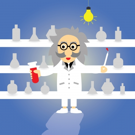 hypothesis: science professor vector cartoon style Illustration