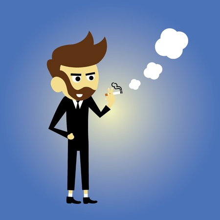 Smoking man vector cartoon style Vector