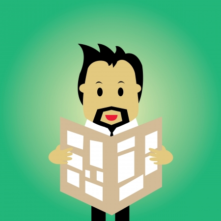 businessman reading a newspaper vector cartoon  Stock Vector - 21569204