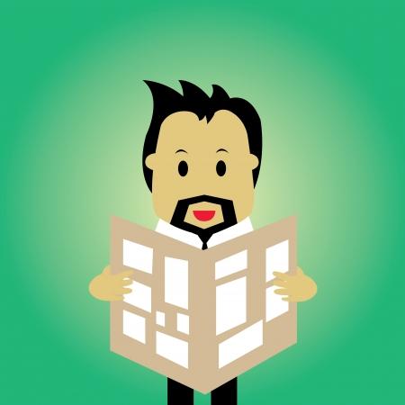 zakenman lezen van een krant vector cartoon
