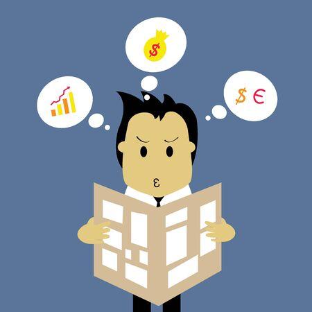businessman reading a newspaper vector cartoon Stock Vector - 21569206