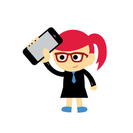 businesswoman and technology vector cartoon style Vector