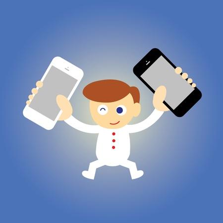 businessman and technology vector cartoon style Stock Vector - 21569290