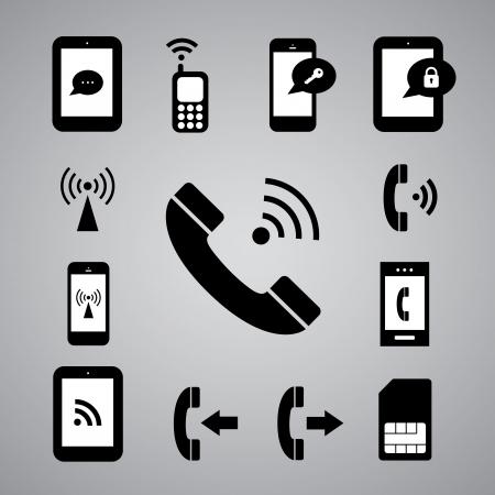 satellite transmitter: technology symbol on gray background Illustration