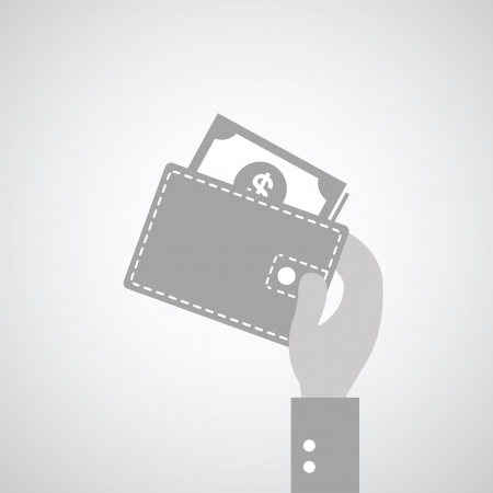Wallet symbol on gray background Stock Vector - 21881006