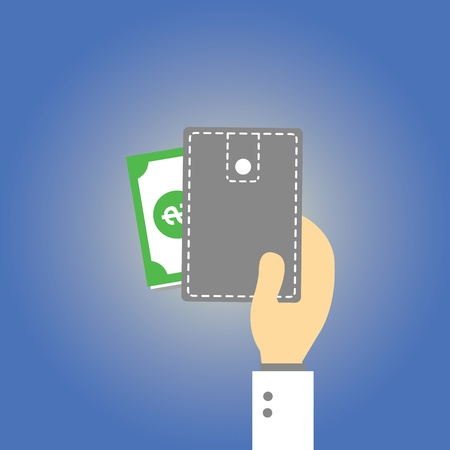 Wallet  money vector cartoon style Stock Vector - 21881021