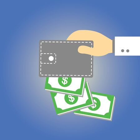 Wallet  money vector cartoon style Stock Vector - 21881023