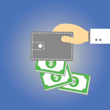 Wallet  money vector cartoon style Stock Vector - 21881023
