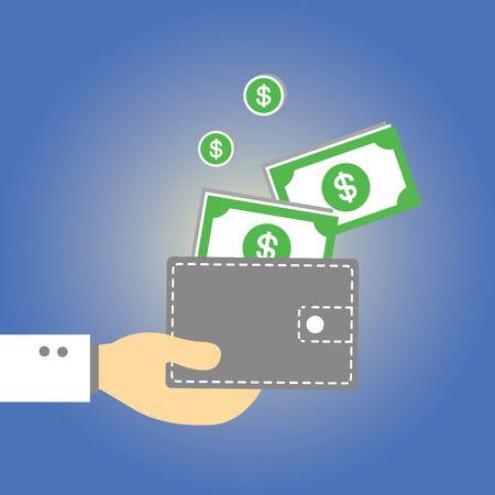 Wallet  money vector cartoon style Illustration