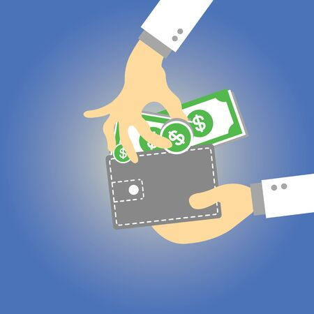 Wallet  money vector cartoon style Stock Vector - 21881026