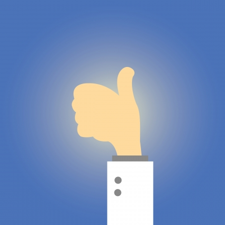 Thumb up  vector cartoon style Vector