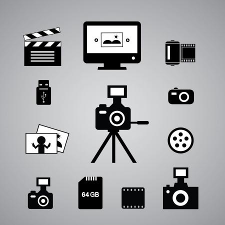 photographie icônes fixés sur fond gris