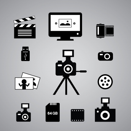 tripod: photography icons set on gray background