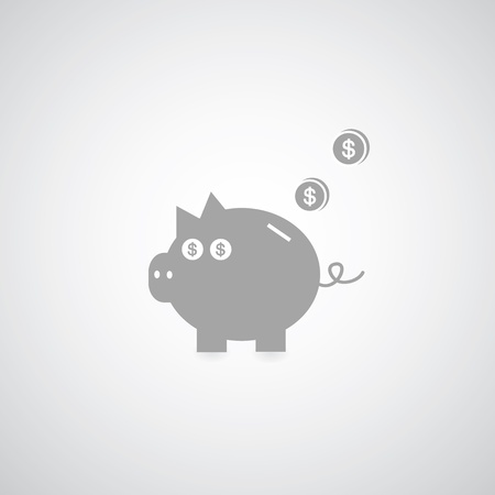 time account: Piggy bank on gray background