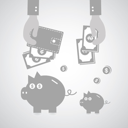 Piggy bank and wallet on gray background Vector