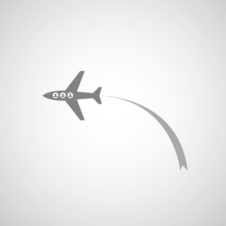 airplane symbol on gray background Illustration