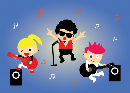 inlove: vector cartoon boy band in concert