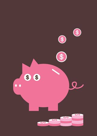 vector cartoon piggy bank saving money Stock Vector - 21881180