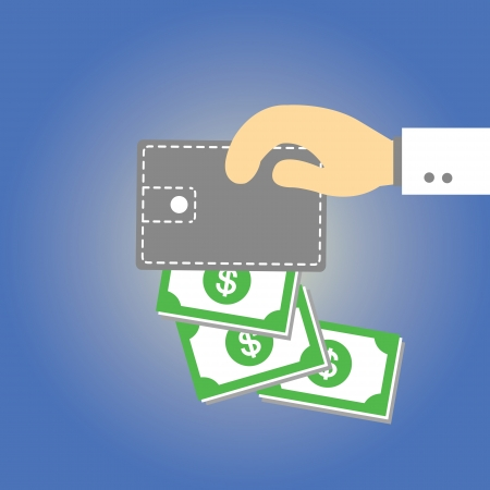 Wallet  money vector cartoon style Vector