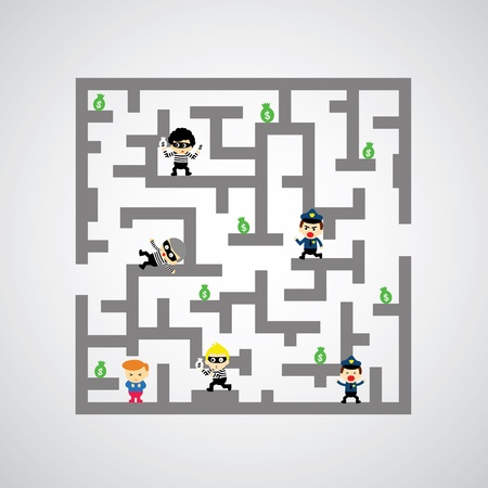 swindler: maze against game catch me if you can Illustration