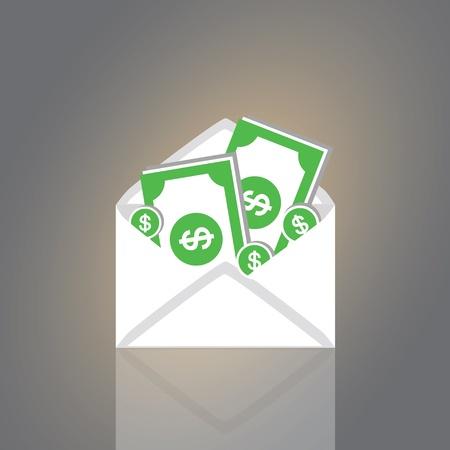 enten: Dollars in een envelop vector cartoon stijl Stock Illustratie