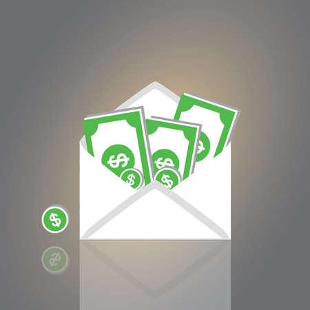 enten: Dollars in een envelop vectorcartoonstijl
