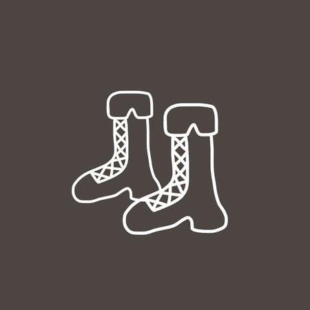 lowbrow: Stivali disegnato a mano cartone animato schizzo Vettoriali