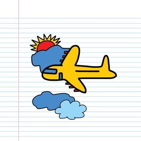 Plane hand drawn in a paper Vector