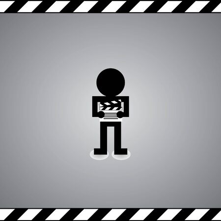 slate film: man and slate film symbol in framework