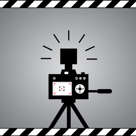 black camera symbol in framework Vector