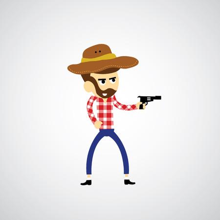 tough man: Cowboy vector cartoon for use Illustration