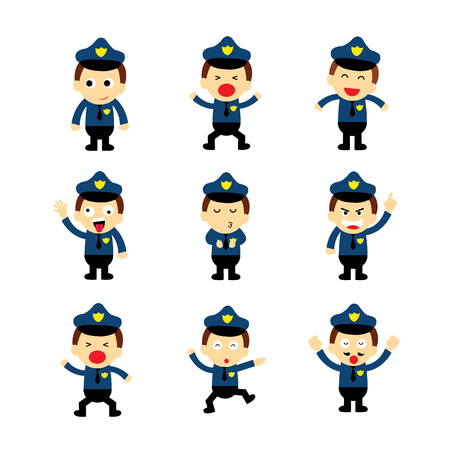traffic police: policeman vector cartoon on white background