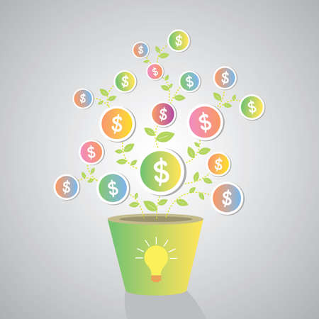 make money by bulb light creative idea Stock Vector - 23186223