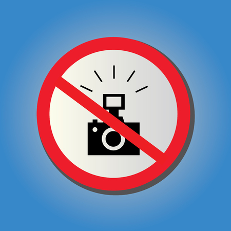 sticker no photography allowed on blue background Vector