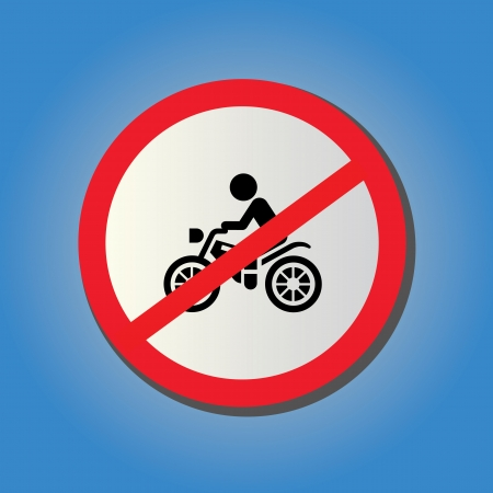 No motorcycle sign on blue background Stock Vector - 23186236