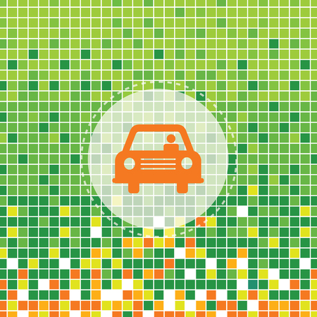 car symbol on green moses background Vector