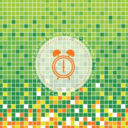 get up: simbolo di allarme orologio su sfondo verde moses