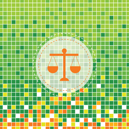 delinquency: scales of justice symbol on green moses background