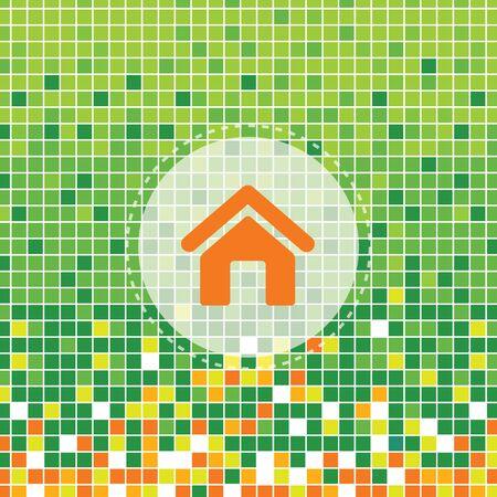 icone maison: icon home sur le vert Mo�se fond