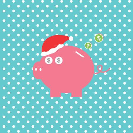 vector cartoon piggy bank saving money Vector