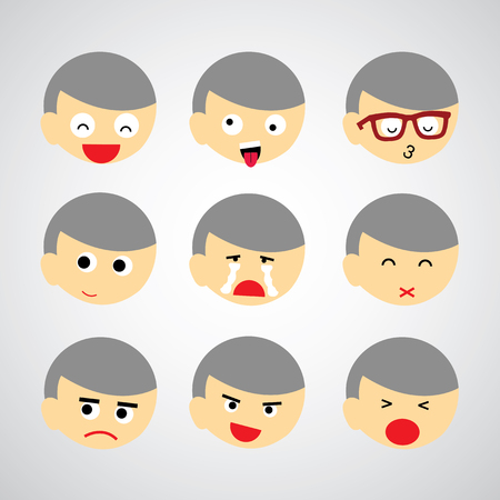 face emotion vector cartoon style Vector