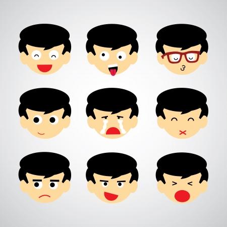 sad boy: face emotion vector cartoon style