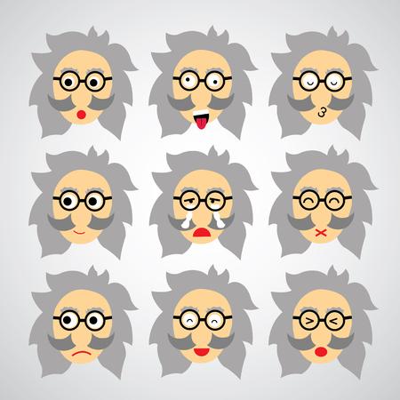 crazy man: face emotion vector cartoon style