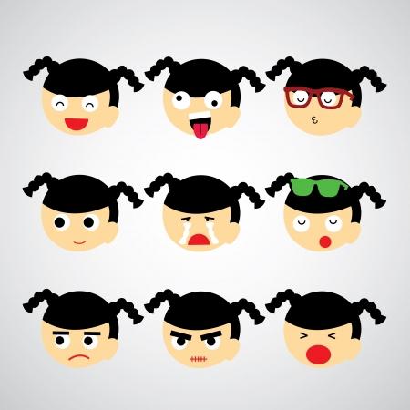 face emotion vector cartoon style  Illustration