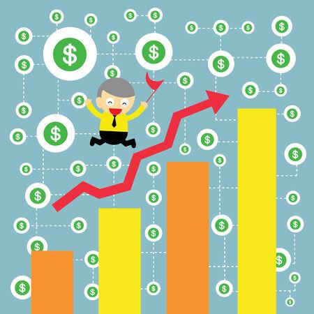 businessman  making money vector cartoon Stock Vector - 23826785