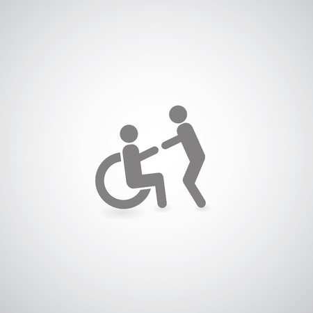Disabled symbol  on gray background  Illustration