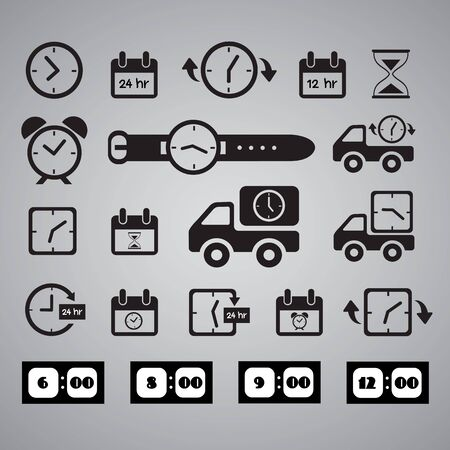 clocks icons on gray background Vector