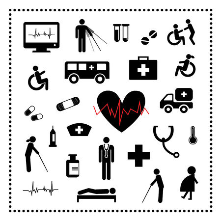 hospital icons set on white background  Stock Vector - 24474535