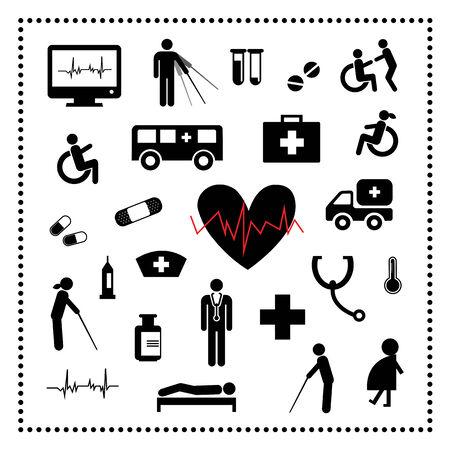 hospital icons set on white background Stock Vector - 24474535